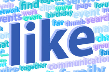 Social Media Word Cloud Illustration