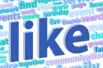 Social Media Word Cloud Illustration