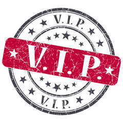 VIP red grunge round stamp on white background