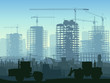 Illustration of construction site with crane and building. - 62411104