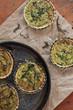 vegetarian tartellettes with leeks rocket on plate