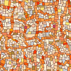 Seamless pattern of marble orange mosaic.