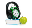 Clock with headphones