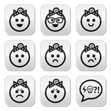Baby girl faces, avatar vector buttons set