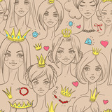 Seamless pattern with beautiful princesses