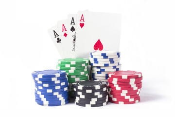 4 aces and poker chips