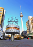 Tv tower and world clock at Alexanderplatz, Berlin, Germany
