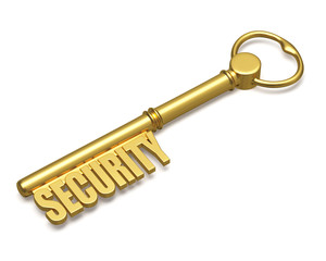 Golden key with security text made of gold isolated