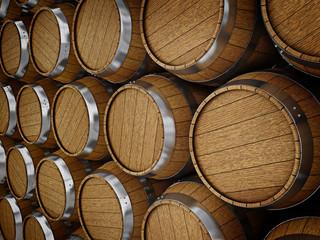 Wooden oak brandy wine beer barrels rows