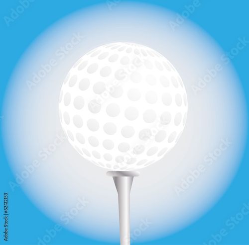 Golf ball on a tee, vector illustration