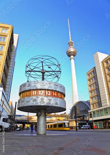 Fototapeta Tv tower and world clock at Alexanderplatz, Berlin, Germany