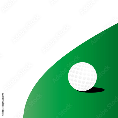 Golf ball on green grass field, vector illustration