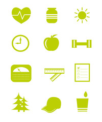 Helathy lifestyle icons, vector illustration