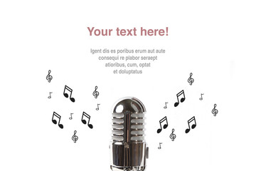 Vintage microphone with sheet music