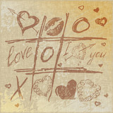 vector Hand drawn Tic Tac Toe Hearts,