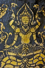 Mural of Devatas in Laos Temple