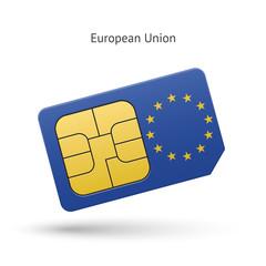 European Union mobile phone sim card with flag.