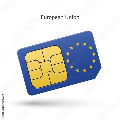 European Union mobile phone sim card with flag.