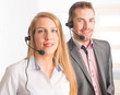 Happy Telephone Operators in call center