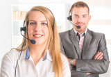 Happy Telephone Operators in call center