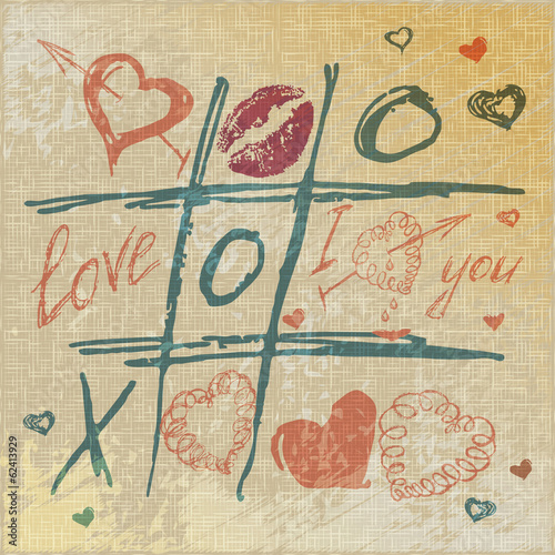 vector Tic Tac Toe Hearts, Valentine background. The valentine's