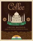 banner with coffee grains and view with picture of the Taj Mahal