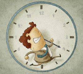 businessman running inside a clock Trying to beat the clock