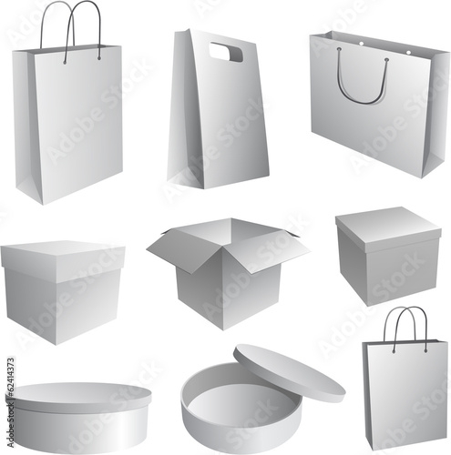 Set of paper bags and boxes Illustration for branding