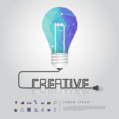 blue polygon idea light bulb with business icon and creative wir