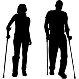 Vector silhouettes of people with crutch.