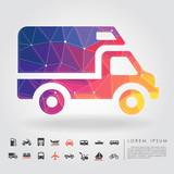 polygon truck with transportation icon