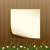 Wooden fence and paper background