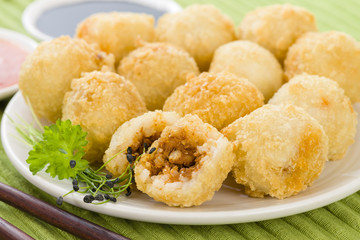 Katsu Balls - Japanese breaded and fried rice balls with curry