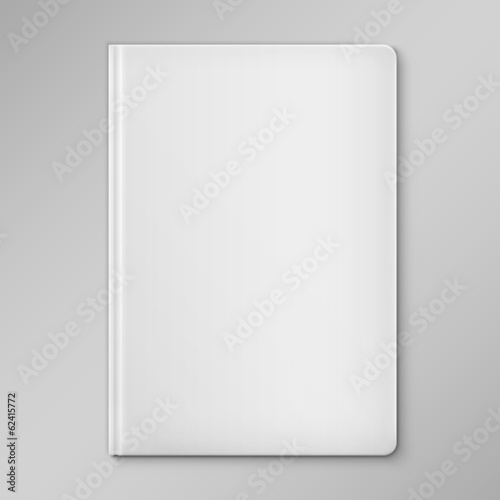 Isolated White Blank Book Cover.