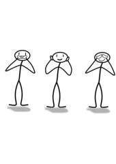 Strichmännchen Nicht Hören Sehen Reden
