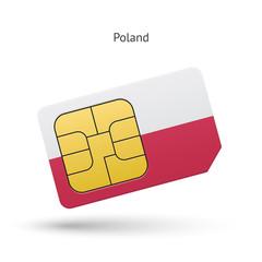 Poland mobile phone sim card with flag.