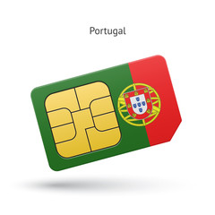 Portugal mobile phone sim card with flag.