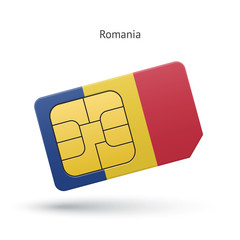 Romania mobile phone sim card with flag.
