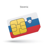 Slovenia mobile phone sim card with flag.