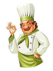 Smiling cook show okay. Eps10 vector illustration. Isolated on