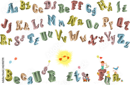 3D alphabet with uppercase and lowercase letters
