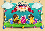 Easter eggs with chicks cartoon