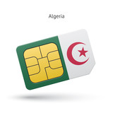 Algeria mobile phone sim card with flag.