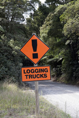 Beware road sign Logging trucks