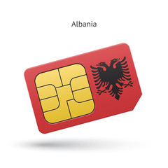 Albania mobile phone sim card with flag.