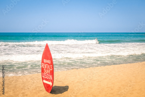 Surfboard at exclusive beach - Surfing school destinations world