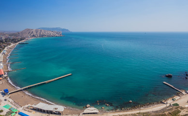 Aerial view on the beach of Sudak in Crimea, Ukraine