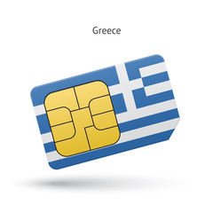 Greece mobile phone sim card with flag.