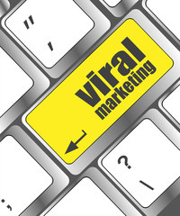 viral marketing word on computer keyboard key, raster