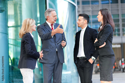 Businesspeople talking outdoor